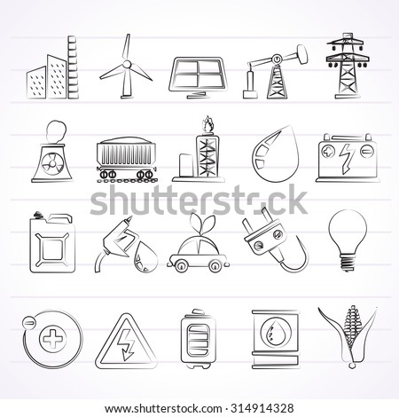 Power, energy and electricity Source icons - vector icon set
