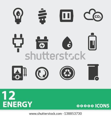 Power & Energy icons,vector - stock vector