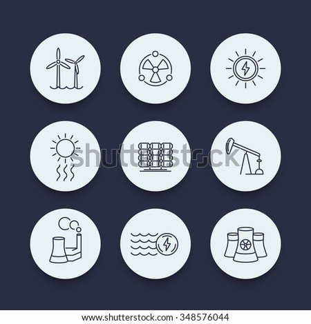 Power, energy production, energetics, solar, wind, nuclear energy, line round icons set, vector illustration - stock vector