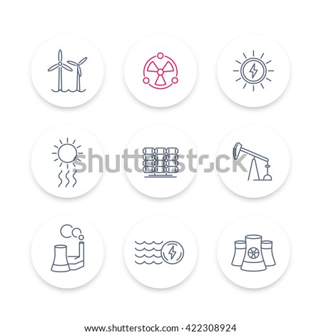 Power, energy production line icons, energetics, solar, wind, nuclear energy pictograms, round icons set, vector illustration - stock vector