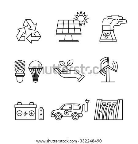 Power generation and ecologic energy thin line art icons set. Modern black symbols isolated on white for infographics or web use. - stock vector