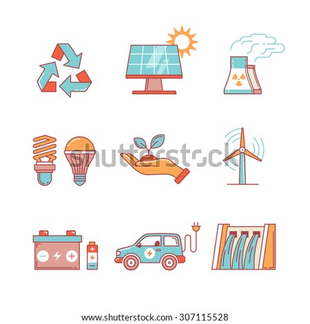Power generation and ecologic energy thin line icons set. Modern flat style symbols isolated on white for infographics or web use. - stock vector