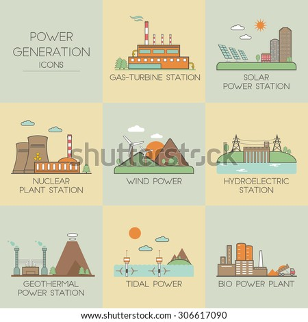 Power generation. Set icons - stock vector