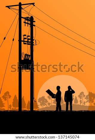 Power high voltage line with engineer vector background - stock vector