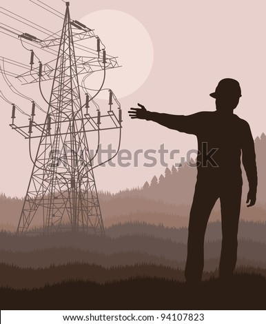 Power high voltage tower with engineer in front of it - stock vector