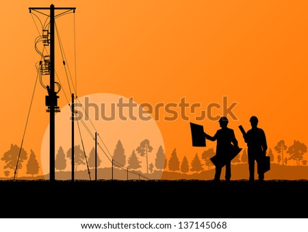 Power high voltage tower with engineer vector background - stock vector