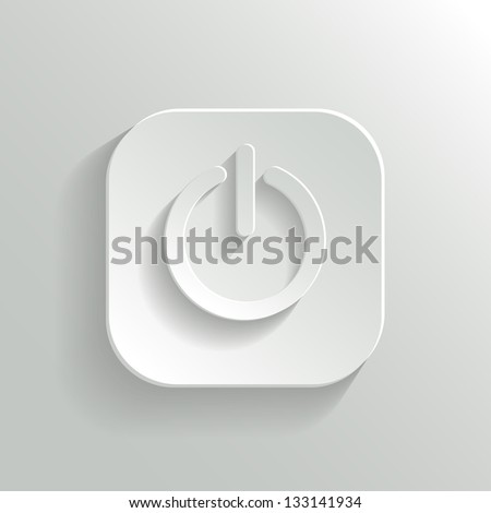Power icon - vector white app button with shadow - stock vector