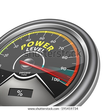 power level conceptual indicator meter isolated on white background, vector illustrator