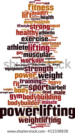 Power-lifting word cloud concept. Vector illustration