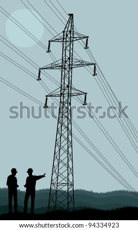 Power line and engineers in front of it vector background - stock vector