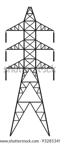 Power line (Silhouette of Power line and electric pylon, electric transmission line) - stock vector