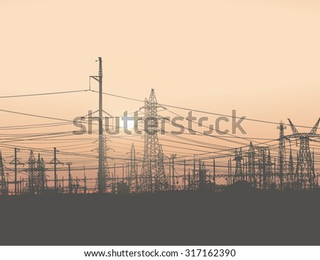 Power lines. Electricity pylons. Vector illustration of industrial landscape, with high voltage towers and huge clear sky and sun in the background. Panorama. Background. Banner. Poster - stock vector