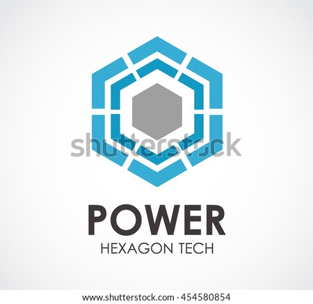 Power Of Hexagon Tech Abstract Vector And Logo Design Or Template Computer Business Icon Corporate