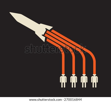 power of imagination can launch a rocket of creativity - stock vector