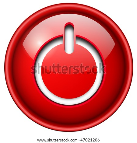 Power on, start icon, button, 3d red glossy circle. - stock vector
