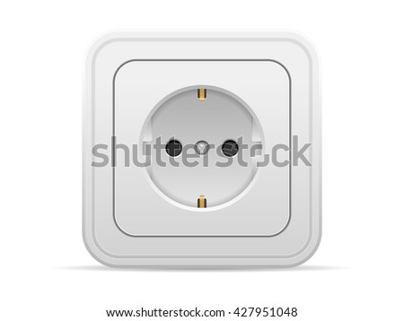 Power outlet on a white background. - stock vector