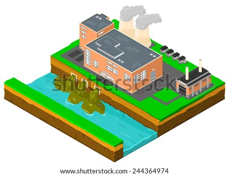 Power plant factory building pollution. Factory Pollution. - stock vector