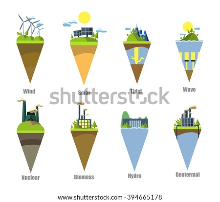 Power plant icon vector set - stock vector