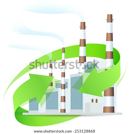 Power Plant Icon with Arrows - stock vector