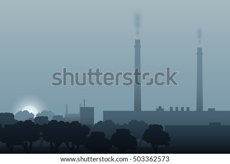 Power plant skyline in the morning. Morning haze over a factory.