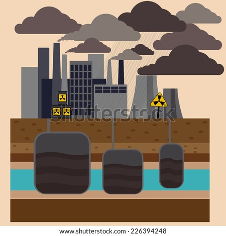 Power plant smokestacks emitting smoke over urban cityscape in cartoon style. Smokestack in factory with black yellow sky and clouds - stock vector