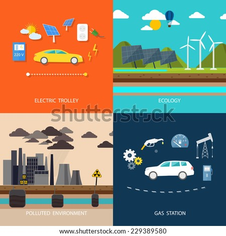 Power plant smokestacks emitting smoke over urban cityscape in cartoon style. Smokestack in factory with black clouds. Renewable energy like hydro, solar, geothermal. Electric cars and petrol car - stock vector