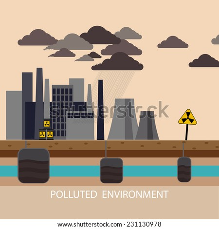 Power plant smokestacks emitting smoke over urban cityscape in cartoon style. Smokestack in factory with black yellow sky and clouds. Polluted environment - stock vector