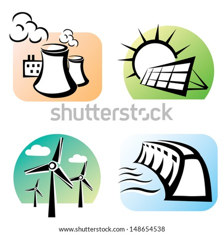 power plants set, vector icons - stock vector