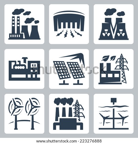 Power plants vector icons set: thermal, hydro, nuclear, diesel, solar, eco, wind, geothermal, tidal - stock vector