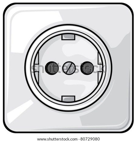 power plug (power outlet,  electric outlet) - stock vector