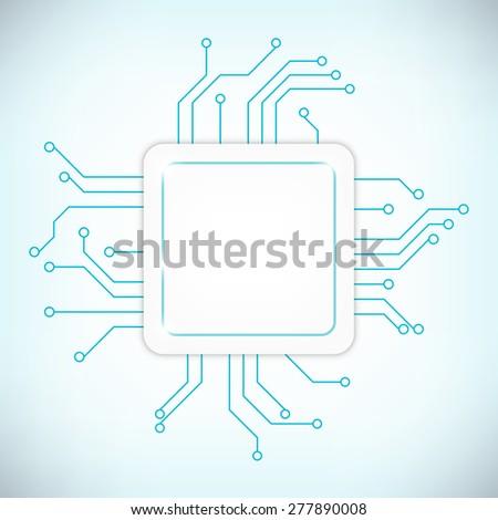 Power processor. Future microcircuit. Vector illustration - stock vector