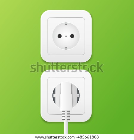Power socket with cable plugged. vector