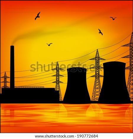 power station - stock vector