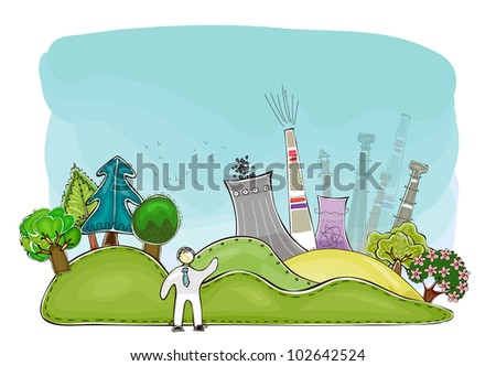 Power station and nature in balance - stock vector