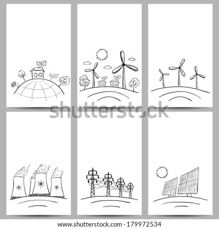 Power station energy doodles on three banners - stock vector