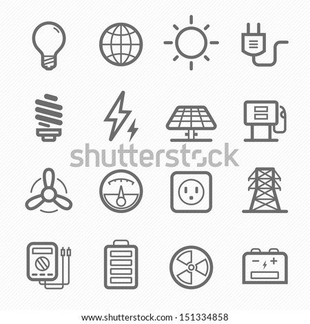 Power symbol line icon on white background vector illustration - stock vector