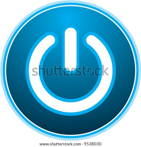 power symbol: sexy blue light vector button - stock vector