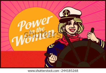 Power to the Women! Determined woman holding the helm steady, Self-confident lady takes the lead, figurative conceptual retro clipart - stock vector