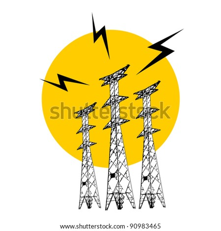 Power tower - stock vector