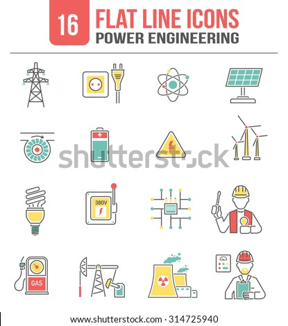 Power transmission high voltage lines engineering icons set with clean sustainable energy sources abstract isolated vector illustration - stock vector