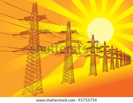 Power Transmission Line against the setting sun, vector illustration - stock vector