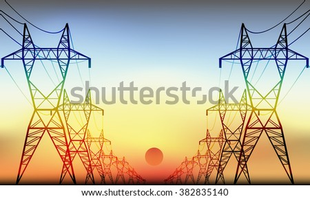 Power Transmission lines and Substations - stock vector