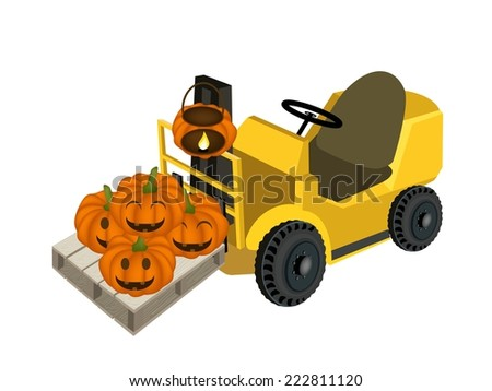 Powered Industrial Forklift, Fork Heavy Machine, Fork Truck or Lift Truck Loading Stack of Happy Jack-o-Lantern Pumpkins in Shopping Cart, Sign For Halloween Celebration.  - stock vector