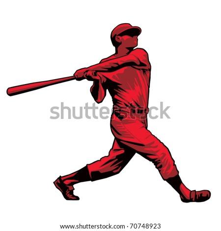 Powerful Baseball Hitter Left handed - stock vector