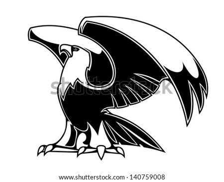 Powerful eagle isolated on white background for heraldry or tattoo design or logo template. Jpeg (bitmap) version also available in gallery - stock vector