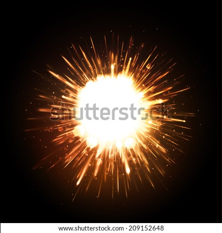 Powerful explosion on black background, eps 10 - stock vector
