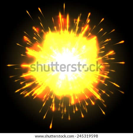 Powerful explosion on black background, vector  - stock vector