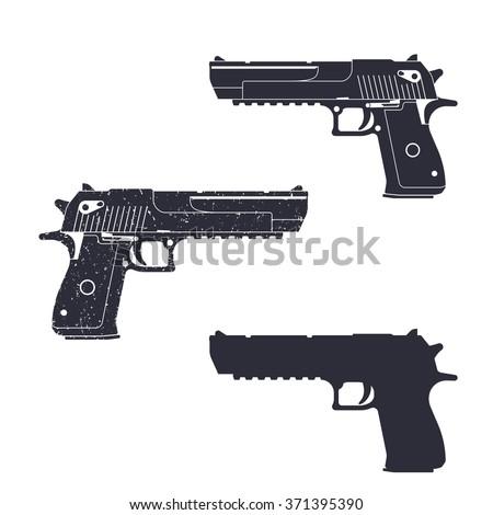 powerful pistol, gun silhouette, pistol illustration, handgun, vector illustration - stock vector