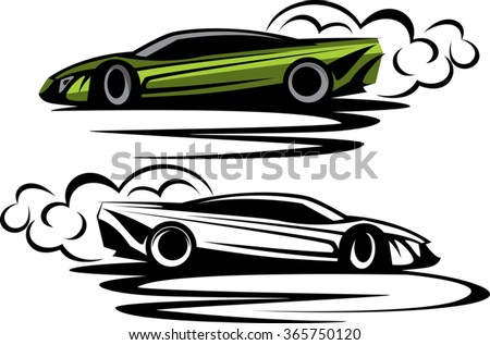powerful sport car drifting circles around with tires smoke. ready for vinyl cut. simple unique design illustration - stock vector