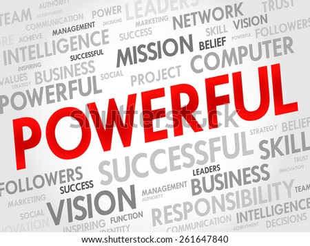 POWERFUL word cloud, business concept - stock vector
